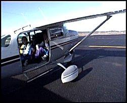 This plane has no door!